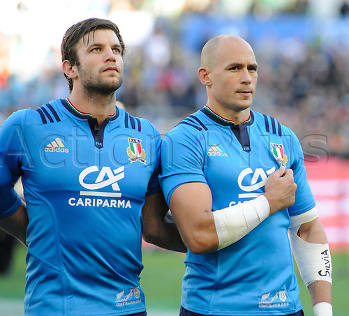 12.11.2016. Stadio Olimpico, Rome, Italy. Autumn International Rugby. Italy versus New Zealand. Sergio Parisse during their anthem