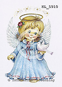 Interlitho, Theresa, CHRISTMAS CHILDREN, paintings, angel, white dove, KL5910,#xk# stickers stickers