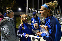 Kansas City, MO - Friday May 13, 2016: FC Kansas City midfielder Jen Buczkowski (6) signs autographs for fans after regular season National Women's Soccer League (NWSL) match against the Chicago Red Stars at Swope Soccer Village. The match ended 0-0.