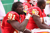 Chiefs defensive end Tamba Hali takes a drink of Gatorade on the bench during the second half of the game against the Jacksonville Jaguars at Arrowhead Stadium in Kansas City, Missouri on December 31, 2006. The Chiefs won 35-30.