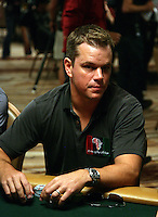 MATT DAMON.The Ante Up for Africa Celebrity Poker Tournament at the Rio Resort Hotel and Casino, Las Vegas, Nevada, USA..July 2nd, 2009.half length table bet betting chips  cards grey gray t-shirt .CAP/ADM/MJT.© MJT/AdMedia/Capital Pictures