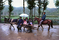 September, 1985. Shaanxi Province, China. Local people going to school or to the market.