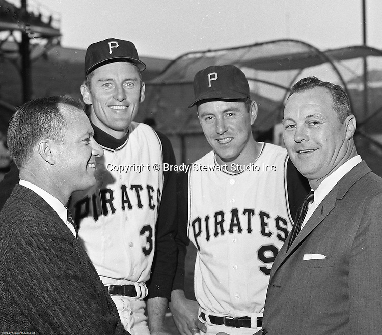 Oakland Section of Pittsburgh:  The Deacon, Vernon Law, and Bill Mazeroski posing for a photo before the annual HYPO Charity baseball game - 1964. The money raised by HYPO (Help Young Players Organize) was used to help local communities buy equipment and build ball fields. Forbes Field was a baseball park in the Oakland neighborhood of Pittsburgh, from 1909 to 1971. It was the third home of the Pittsburgh Pirates, and the first home of the Pittsburgh Steelers, the city's National Football League franchise. The stadium also served as the home football field for the University of Pittsburgh Panthers from 1909 to 1924. The stadium was named after British general John Forbes who fought in the French and Indian War, and named the city in 1758.