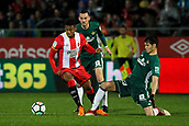 13th April 2018, Estadi Montilivi, Girona, Spain; La Liga football, Girona versus Real Betis; Anthony Lozano of Girona and Aissa Mandi of Betis challenge for the ball
