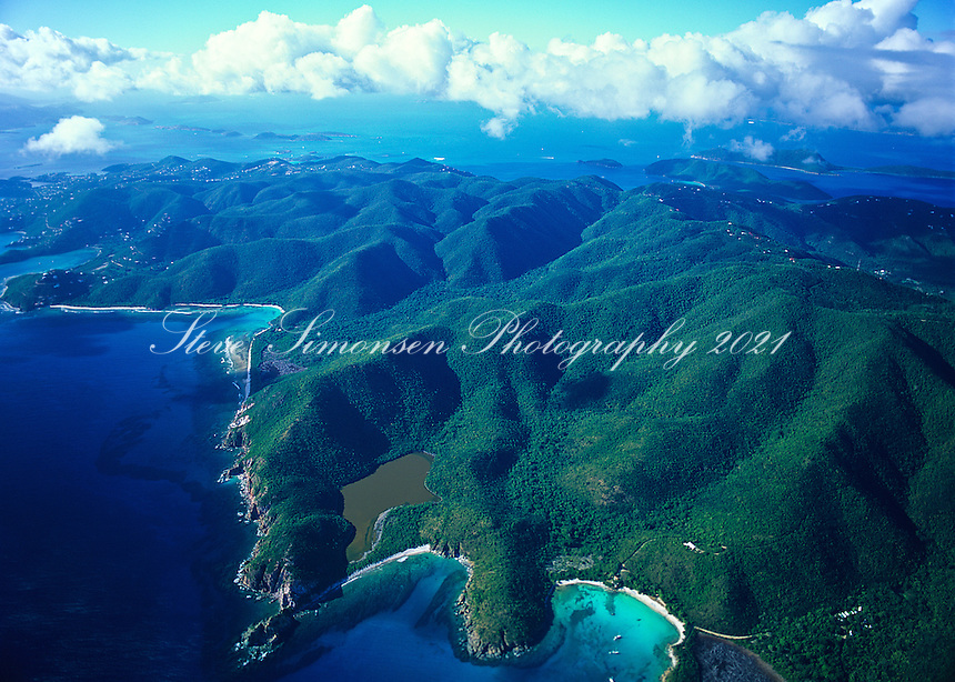 Aerial view of St.  John<br /> showing Lameshur Bay and the Virgin Islands National Park on the southeast side of the island<br /> U.S. Virgin Islands