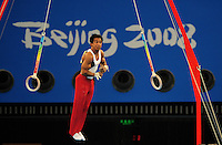 Aug. 9, 2008; Beijing, CHINA; Raj Bhavsar (USA) performs on the rings during mens gymnastics qualification during the Olympics at the National Indoor Stadium. Mandatory Credit: Mark J. Rebilas-