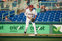 Mahoning Valley Scrappers first baseman Michael Cooper (4) during a NY-Penn League game against the State College Spikes on August 29, 2019 at Eastwood Field in Niles, Ohio.  State College defeated Mahoning Valley 8-1.  (Mike Janes/Four Seam Images)