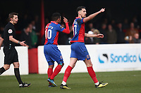 Conor Wilkinson of Dagenham and Redbridge scores the second goal for his team and celebrates during Dagenham & Redbridge vs Bromley, Vanarama National League Football at the Chigwell Construction Stadium on 9th March 2019