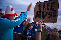 """This first night for the participants there were many signs with """"Free hugs"""". A simple way to make new friends at a jamboree."""