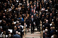 Former President George W. Bush with his wife Laura during walk behind the casket of his father former president George Herbert Walker Bush during a memorial ceremony at the National Cathedral in Washington, Wednesday,  Dec.. 5, 2018.<br /> CAP/MPI/RS<br /> &copy;RS/MPI/Capital Pictures