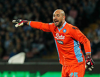 Pepe Reina  in action during the Italian Serie A soccer match between SSC Napoli and Juventus FC   at San Paolo stadium in Naples, March 30 , 2014