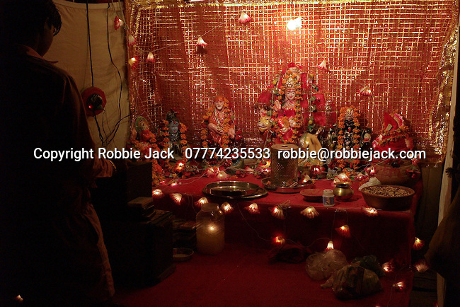 Temporary shrine in the Paharganj district of New Delhi, India.