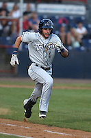Justin Pacchioli (4) of the Tri-City Dust Devils runs to first base during a game against the Vancouver Canadians at Nat Bailey Stadium on July 23, 2015 in Vancouver, British Columbia. Tri-City defeated Vancouver, 6-4. (Larry Goren/Four Seam Images)