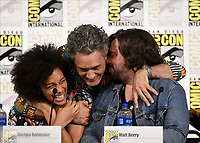 FX FEARLESS FORUM AT SAN DIEGO COMIC-CON© 2019: L-R: Writer/Co-Executive Producer Stefani Robinson and Writer/Producer/Cast Member Taika Waititi and Cast Member Matt Berry during the WHAT WE DO IN THE SHADOWS panel on Saturday, July 20 at SAN DIEGO COMIC-CON© 2019. CR: Frank Micelotta/FX/PictureGroup © 2019 FX Networks