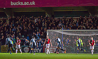Celebrations as Sam Wood of Wycombe Wanderers hits a last minute goal to make it 2-0 during the Sky Bet League 2 match between Wycombe Wanderers and Crawley Town at Adams Park, High Wycombe, England on 28 December 2015. Photo by Kevin Prescod / PRiME Media Images