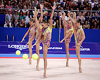 September 15, 2018 - Sofia, Bulgaria - Bulgarian rhythmic group performs in group AA final & qualification for finals at 2018 World Championships.