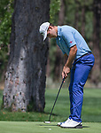 Andrea Pavan putts during the Barracuda Championship PGA golf tournament at Montrêux Golf and Country Club in Reno, Nevada on Sunday, July 28, 2019.