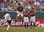 26 May 2006: Bobby Convey (USA) (15) sends a free kick towards a wall composed of Venezuela's Leonel Vielma (13), Miguel Mea (5), and Jose Torrealba (7). The United States Men's National Team defeated their counterparts from Venezuela 2-0 at Cleveland Browns Stadium in Cleveland, Ohio in a men's international friendly soccer game.