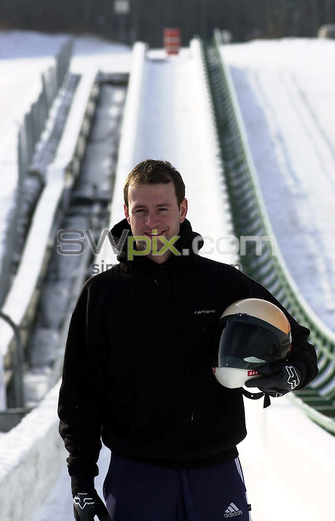 Pix:Ben Duffy/SWpix.com  Skeleton Bobsleigh World Championships, Calgary, Canada. 09/02/2001..COPYRIGHT PICTURE>>SIMON WILKINSON>>01943 436649>>..Great Britains Kristan Bromley practices  at the Canada Olympic Park (Calgary, Canada),  ahead of this weekends World Skeleton Bobsleigh Championship competition...