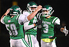 Zachary Grof #3 of Seaford, right, gets congratulated by teammates after reeling in a pass for a 50-yard touchdown in the first quarter of the Nassau County Conference IV varsity football semifinals against Locust Valley at Hofstra University on Thursday, Nov. 9, 2017.
