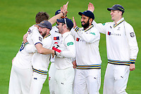 Picture by Alex Whitehead/SWpix.com - 22/04/2018 - Cricket - Specsavers County Championship Div One - Yorkshire v Nottinghamshire, Day 3 - Emerald Headingley Stadium, Leeds, England - Yorkshire's Ben Coad celebrates with team-mates after taking the wicket of Notts' Samit Patel.