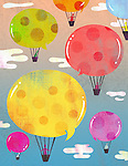Illustrative image of people in hot air balloons representing social networking