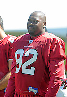 Jul 30, 2008; Flagstaff, AZ, USA; Arizona Cardinals defensive end Bertrand Berry during training camp on the campus of Northern Arizona University. Mandatory Credit: Mark J. Rebilas-