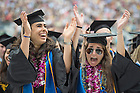 May 17, 2015; Graduates celebrate during the Commencement ceremony in Notre Dame Stadium.  (Photo by Barbara Johnston/University of Notre Dame)