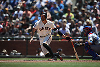 SAN FRANCISCO, CA - JULY 11:  Hunter Pence #8 of the San Francisco Giants bats against the Chicago Cubs during the game at AT&T Park on Wednesday, July 11, 2018 in San Francisco, California. (Photo by Brad Mangin)