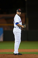 Scottsdale Scorpions relief pitcher Kyle Regnault (28), of the New York Mets organization, prepares to deliver a pitch to the plate during an Arizona Fall League game against the Peoria Javelinas on October 20, 2017 at Scottsdale Stadium in Scottsdale, Arizona. the Javelinas defeated the Scorpions 2-0. (Zachary Lucy/Four Seam Images)
