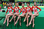 Japan Women's team group (JPN), <br /> AUGUST 7, 2016 - Artistic Gymnastics : <br /> Women's Qualification <br /> at Rio Olympic Arena <br /> during the Rio 2016 Olympic Games in Rio de Janeiro, Brazil. <br /> (Photo by Sho Tamura/AFLO SPORT)