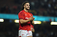 Pictured: Josh Navidi of Wales celebrates at full time during the Guinness six nations match between Wales and England at the Principality Stadium, Cardiff, Wales, UK.<br /> Saturday 23 February 2019