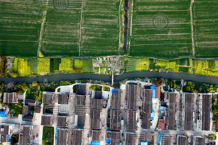 A housing estate and fields of green crops are divided by a small canal. /Felix Features