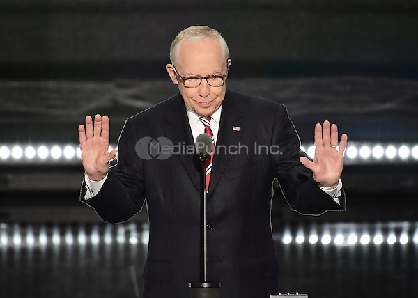 Former United States Attorney General Michael Mukasey makes remarks at the 2016 Republican National Convention held at the Quicken Loans Arena in Cleveland, Ohio on Tuesday, July 19, 2016.<br /> Credit: Ron Sachs / CNP/MediaPunch<br /> (RESTRICTION: NO New York or New Jersey Newspapers or newspapers within a 75 mile radius of New York City)
