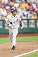 LSU Tigers shortstop Alex Bregman (8) takes his lead off of third base against the TCU Horned Frogs in the NCAA College World Series on June 14, 2015 at TD Ameritrade Park in Omaha, Nebraska. TCU defeated LSU 10-3. (Andrew Woolley/Four Seam Images)