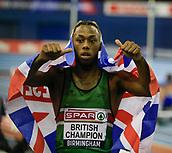10th February 2019, Arena Birmingham, Birmingham, England; Spar British Athletics Indoor Championships; Connor Wood after winning the Men's 200m final during Day Two of the Spar Indoor Athletics Championships at Birmingham Arena