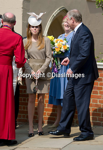 "PRINCE ANDREW WITH DAUGHTERS PRINCESSES EUGENIE AND BEATRICE.Members of the Royal Family attended Easter Service at St. George's Chapel, Windsor Castle, Windsor_24/04/2011.Mandatory Photo Credit: ©Dias/DIASIMAGES..**ALL FEES PAYABLE TO: ""NEWSPIX INTERNATIONAL""**..PHOTO CREDIT MANDATORY!!: DIASIMAGES(Failure to credit will incur a surcharge of 100% of reproduction fees)..IMMEDIATE CONFIRMATION OF USAGE REQUIRED:.DiasImages, 31a Chinnery Hill, Bishop's Stortford, ENGLAND CM23 3PS.Tel:+441279 324672  ; Fax: +441279656877.Mobile:  0777568 1153.e-mail: info@diasimages.com"