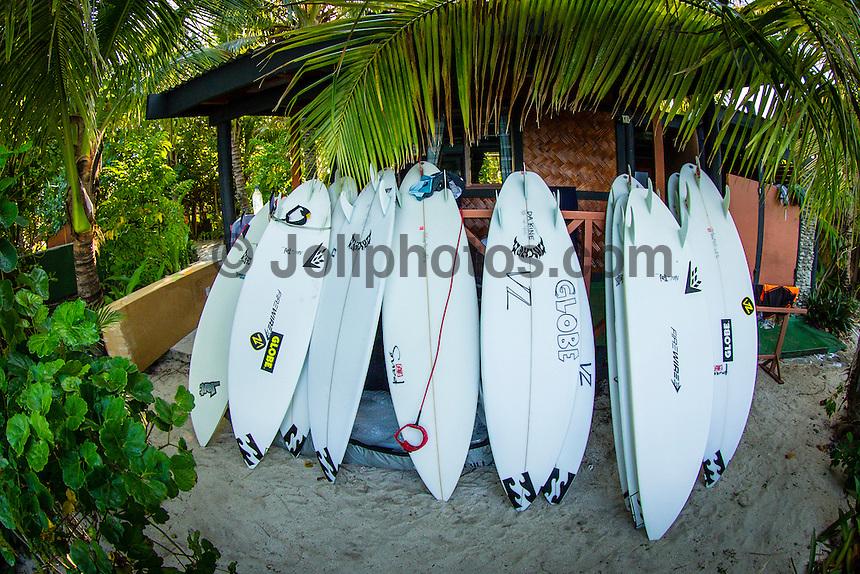 CLOUDBREAK, Tavarua/Fiji (Wednesday, June 5, 2012) Taj Burrow's Fiji quiver.-  Small surf today resulted in a lay day for the Volcom Fiji Pro.  Photo: joliphotos.com