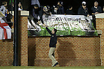 11 November 2015: Wake Forest head coach Bobby Muuss greets fans before the game. The Wake Forest University Demon Deacons hosted the University of Notre Dame Fighting Irish at Spry Stadium in Winston-Salem, North Carolina an Atlantic Coast Conference Tournament Semifinal game and a 2015 NCAA Division I Men's Soccer match. Notre Dame won the game 1-0 and advanced to the ACC Championship final.