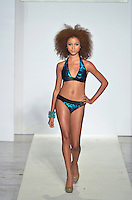 Wet Couture Swimwear by Angelina Petraglia Fashion Show Model, Sarah Rodeberg, at Funkshion Fashion Week Miami Beach 2012 at The Moore Building on March 16, 2012