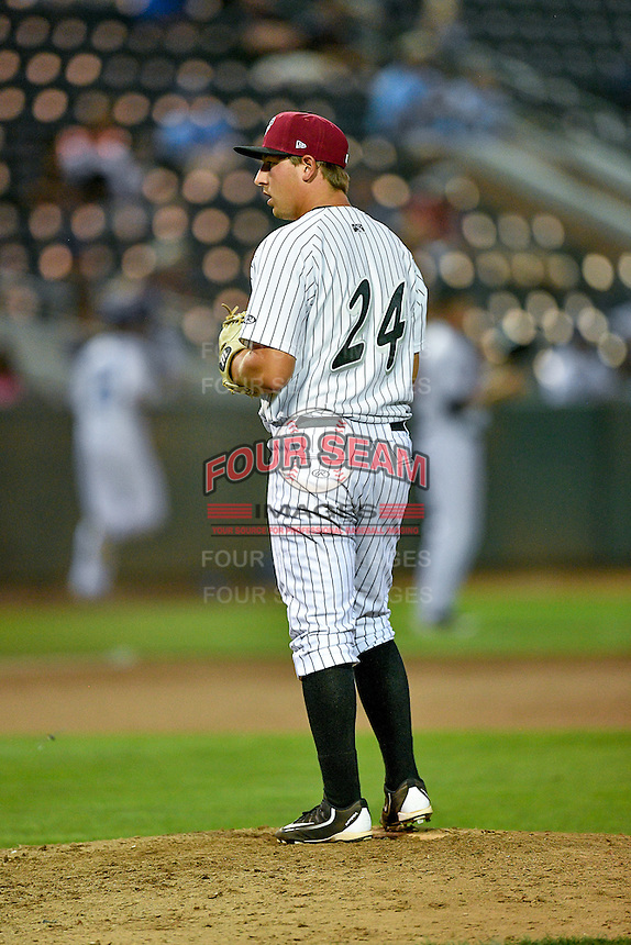 Pioneer League All-Star Brian Bayless (24) of the Idaho Falls Chukars on the mound against the Northwest League All-Stars at the 2nd Annual Northwest League-Pioneer League All-Star Game at Lindquist Field on August 2, 2016 in Ogden, Utah. (Stephen Smith/Four Seam Images)