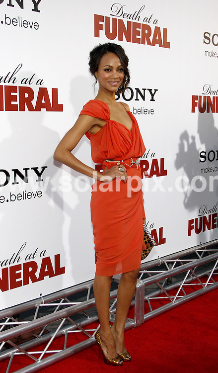 **ALL ROUND PICTURES FROM SOLARPIX.COM**.**SYNDICATION RIGHTS FOR UK, AUSTRALIA, DENMARK, PORTUGAL, S. AFRICA, SPAIN & DUBAI (U.A.E) & ASIA (EXCLUDING JAPAN) ONLY**.Death At A Funeral World Premiere - Arrivals, Pacific's Cinerama Dome, Hollywood, CA, USA, 12 April 2010.This pic: Zoe Saldana.JOB REF: 11067   PHZ gabber   DATE: 12_04_2010.**MUST CREDIT SOLARPIX.COM OR DOUBLE FEE WILL BE CHARGED**.**MUST NOTIFY SOLARPIX OF ONLINE USAGE**.**CALL US ON: +34 952 811 768 or LOW RATE FROM UK 0844 617 7637**