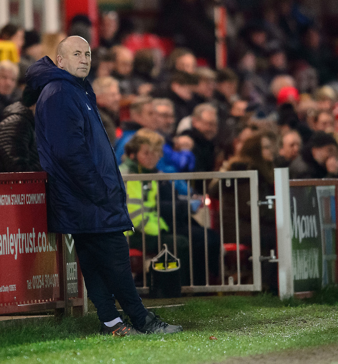 Accrington Stanley manager John Coleman<br /> <br /> Photographer Andrew Vaughan/CameraSport<br /> <br /> The EFL Checkatrade Trophy Second Round - Accrington Stanley v Lincoln City - Crown Ground - Accrington<br />  <br /> World Copyright &copy; 2018 CameraSport. All rights reserved. 43 Linden Ave. Countesthorpe. Leicester. England. LE8 5PG - Tel: +44 (0) 116 277 4147 - admin@camerasport.com - www.camerasport.com