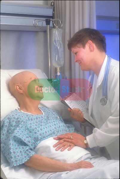 Female chemotherapy patient with nurse