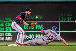 28 April 2017: Washington Nationals infielder Trea Turner is unable to get a sliding Asdrubal Cabrera from stealing second in the first inning against the New York Mets at Nationals Park in Washington, DC. The Mets defeated the Nationals 7-5 to take the first game of their 3-game weekend series. Mandatory Credit: Ed Wolfstein Photo *** RAW (NEF) Image File Available ***