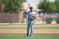 AZL Royals third baseman Emmanuel Rivera (21) throws to first base during an Arizona League game against the AZL Padres 1 at Peoria Sports Complex on July 4, 2018 in Peoria, Arizona. The AZL Royals defeated the AZL Padres 1 5-4. (Zachary Lucy/Four Seam Images)