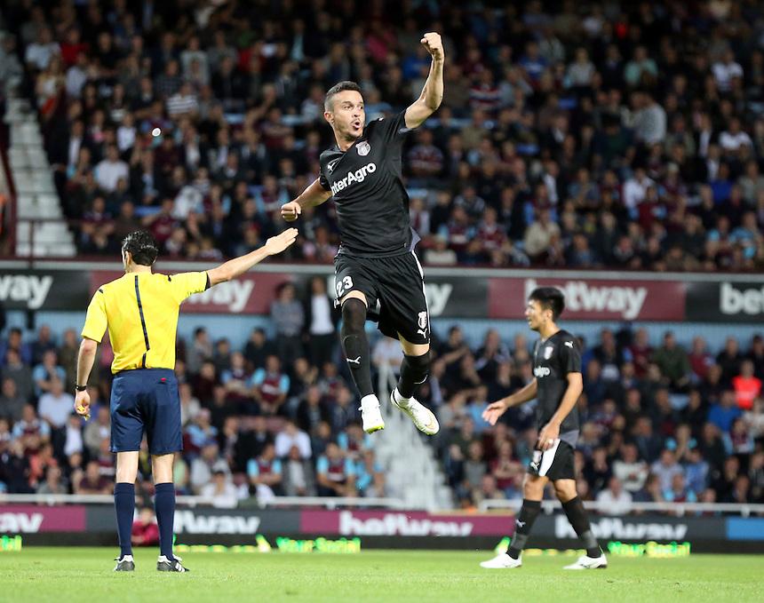 FC Astra Giurgiu Fernando Boldrin celebrates his goal<br /> <br /> Photographer Kieran Galvin/CameraSport<br /> <br /> Football - UEFA Europa League Qualifying Third Round First Leg - West Ham United v Astra Giurgiu - Thursday 30 July 2015 - Boleyn Ground - London<br /> <br /> &copy; CameraSport - 43 Linden Ave. Countesthorpe. Leicester. England. LE8 5PG - Tel: +44 (0) 116 277 4147 - admin@camerasport.com - www.camerasport.com