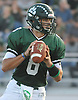 Nick Anzalone #8, Lindenhurst quarterback, looks downfield during a Suffolk County Division I varsity football game against Longwood at Lindenhurst Middle School on Friday, Sept. 15, 2017.