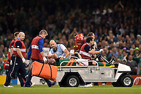 Paul O'Connell of Ireland is stretchered off the field at half-time. Rugby World Cup Pool D match between France and Ireland on October 11, 2015 at the Millennium Stadium in Cardiff, Wales. Photo by: Patrick Khachfe / Onside Images