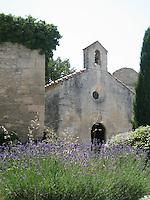Lavender fields in the Provencal hilltown of Les Baux